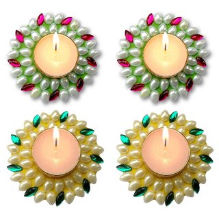51fe4ccb6 Buy Unique Arts Set of 4 Floating Kundan Diya candle green-pinkyellow-gren  4 Diwali Online - Get 76% Off