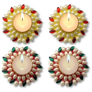 Unique Arts Set of 4 Floating Kundan Diya candle yellow-red-red-green for Diwali