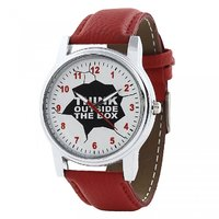 Relish Round Dial Red Leather Strap Quartz Watch For Men