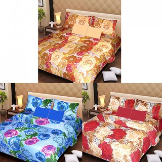 Akash Ganga Multi Colour 3 Cotton Bedsheets with 6 Pillow Covers (AG1191)