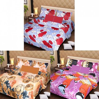 AKASH GANGA MULTI COLOUR  3 COTTON BEDSHEETS WITH 6 PILLOW COVERS (AG1216)