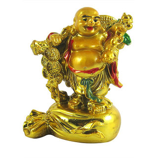 Divya  Vastu Feng shui laughing buddha Stand on money potli Showpiece - 10
