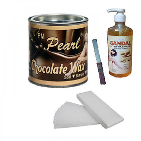 Choclate Hot Wax with 90 Wax Strips Pack with after wax gel  FREE Knife