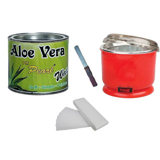 Aloevera Wax For Hair Removal 90 Wax Strips With Auto Cut Heater Free Knife (No of units 4)