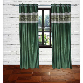 Gaurav Curtain Green Crush panel polster curtain set of 2pcs