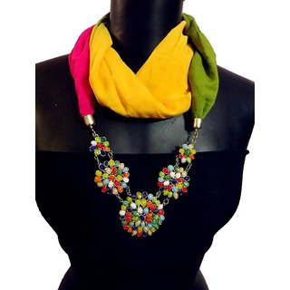 Multicolor Necklace Scarf with 5 Colored Flowers