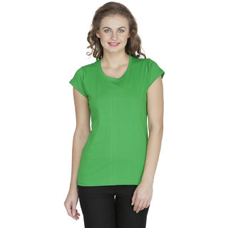 RAMPWALK Cotton Green S Regular Fit Round Neck Tops for women