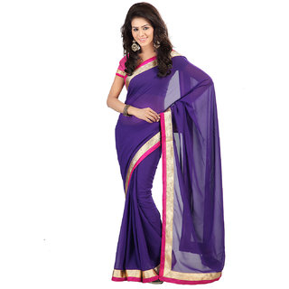 Rangoli Awesome Georgette Purple Embroidered Saree FL-1013