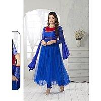 Fabliva Blue  Red Embroidered Net  Net Brasso Anarkali Suit