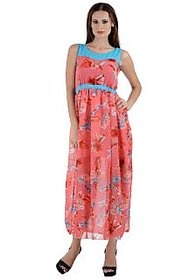 Westchic Peach Floral Maxi Dress For Women