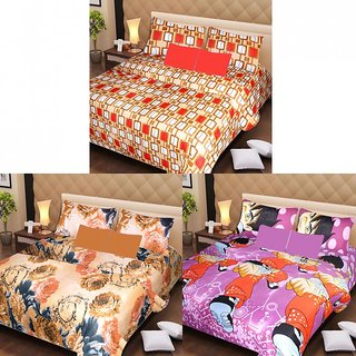 Akash Ganga Beautiful Combo of 3 Double Bedsheets with 6 Pillow Covers (AG1200)