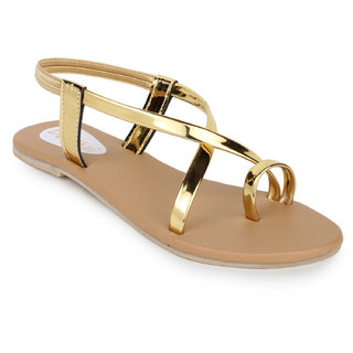 Do Bhai Women's Gold Sandals