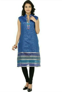 Shagun Casual Self Design Womens Chanderi Kurti