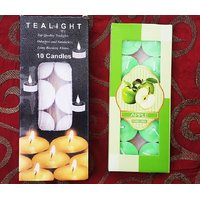 10 PC PLAIN WHITE TEALIGHT CANDLES + 10 PC FRAGRANCE TEALIGHT CANDLES COMBO PACK