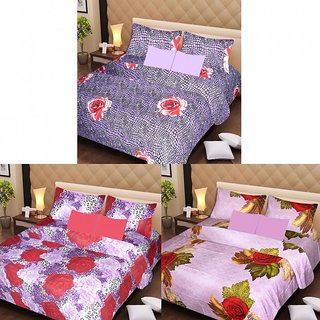 Akash Ganga Beautiful Combo of 3 Double Bedsheets with 6 Pillow Covers (AG1223)