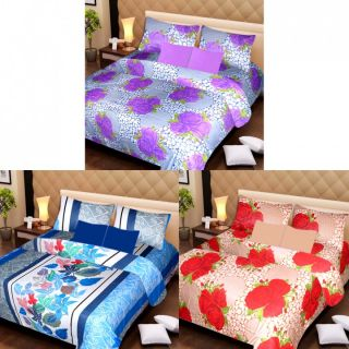 Akash Ganga Beautiful Combo of 3 Double Bedsheets with 6 Pillow Covers (AG1224)