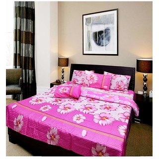 k decor polycotton double bedsheet with 2 pillow covers