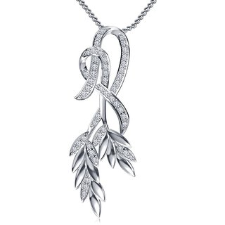 Vorra Fashion Platinum Plated 92.5 Silver Leaf Pendant W/ Chain For Womens