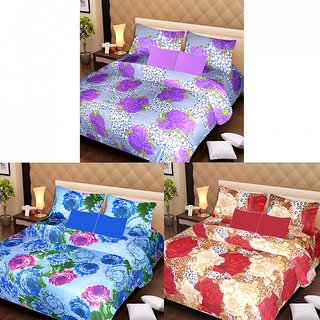 Akash Ganga Beautiful Combo of 3 Double Bedsheets with 6 Pillow Covers (AG1225)