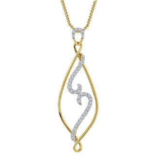Vorra Fashion 14K Yellow Gold Plated 925 Sterling Silver Fancy Pendant W/ Chain