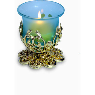Golden candle holder with candle