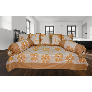 India Furnish 100 Cotton Flower Design Single Bedsheet Set Brown Color