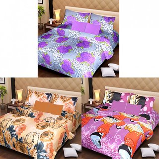 Akash Ganga Beautiful Combo of 3 Double Bedsheets with 6 Pillow Covers (AG1226)