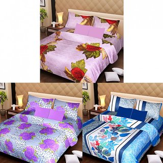 Akash Ganga Beautiful Combo of 3 Double Bedsheets with 6 Pillow Covers (AG1227)