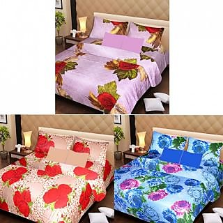 Akash Ganga Beautiful Combo of 3 Double Bedsheets with 6 Pillow Covers (AG1228)
