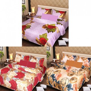 Akash Ganga Beautiful Combo of 3 Double Bedsheets with 6 Pillow Covers (AG1229)