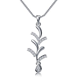 Vorra Fashion Platinum Plated 92.5 Sterling Silver Pretty Pendant With Chain