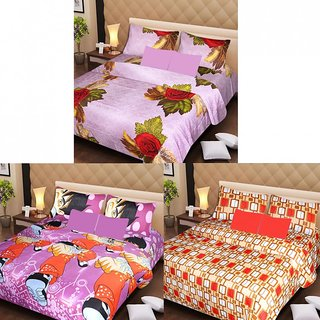Akash Ganga Beautiful Combo of 3 Double Bedsheets with 6 Pillow Covers (AG1230)