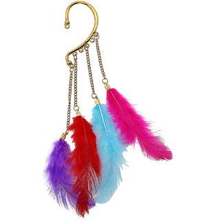 Multicolor Feather Earcuff ER-1385