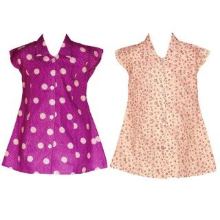 Wajbee Casual Girls Flora Frocks Set Of 2 (WFF2-47)