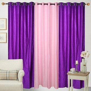 Shiv Shankar Handloom Wine  Pink Crush Door Curtain-Set of 3 (7x4FT)