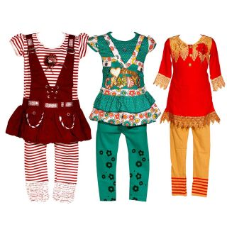 Wajbee Showy Girls Hosiery Frock Set Of 3 (WFHP3-16)