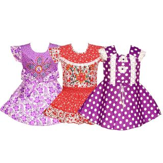 Wajbee Sightly Girls Cotton Frocks Set Of 3 (WFSP3-21)