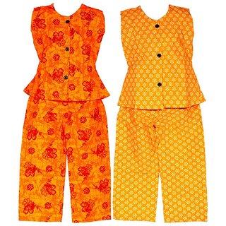 Wajbee Pulchritudinous Girls Cotton Night Suit Set of 2
