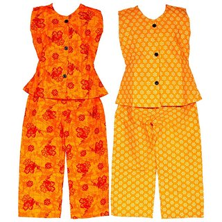 Wajbee Radiant Girls Cotton Night Suit Set of 2
