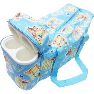 Wonderkids Blue Teddy Print Baby Diaper Bag