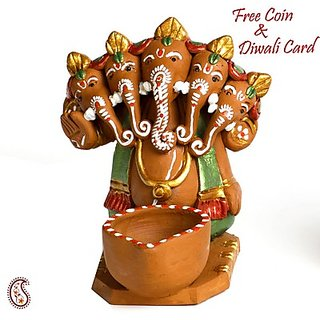 Aapno Rajasthan Multicolor Terracotta Panchmukhi Ganesh With 1 Diya