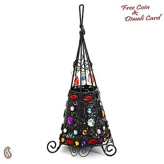 Wrought Iron Teepee Design Tea Light Holder With Colored Glass