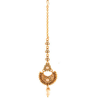AccessHer Antique Rajwadi Maang Tika For Women - ACMTJM616MW