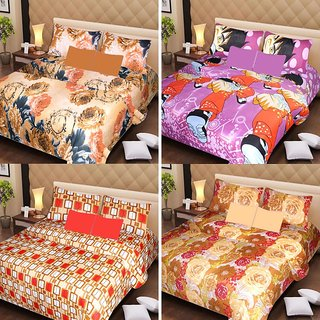 Akash Ganga Beautiful Combo of 4 Double Bedsheets with 8 Pillow Covers (AG1234)