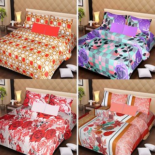 Akash Ganga Beautiful Combo of 4 Double Bedsheets with 8 Pillow Covers (AG1235)