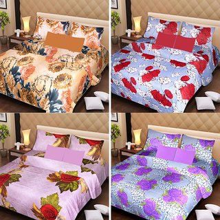 Akash Ganga Beautiful Combo of 4 Double Bedsheets with 8 Pillow Covers (AG1236)