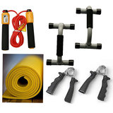 BODY MAXX Complete Family Fitness Kit, Push Ups bar + Yoga Mat + Hand Grippers + Rope With Counter.!!