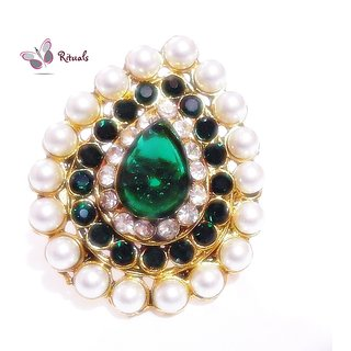 DESIGNER ADJUSTABLE EMERALD PEARLS  RING-  FITS ALL