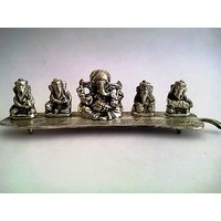 Metal Idol Set Of 5 Lord Ganesha  With Different Musical Instruments On A Leaf.