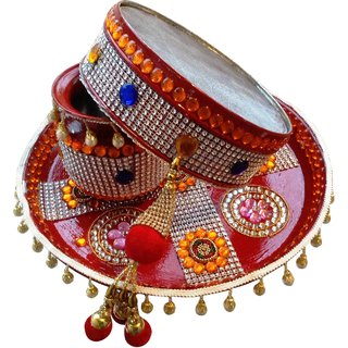 Unique Arts Beautiful Maroon Karwa Chauth Thali Set